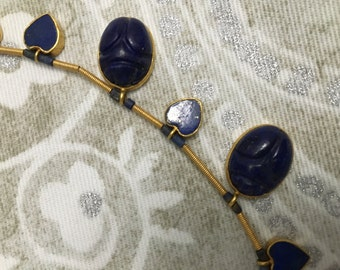 Stunning Indian Gold Necklace with Lapis Lazuli Stones (Antique)!