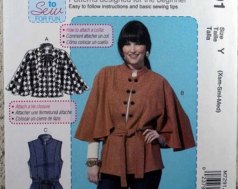 McCall's 7291, Misses' Capelets, Vest and Belt Sewing Pattern, Learn to Sew Pattern, Misses' Size SX, S, M, Pattern is Uncut