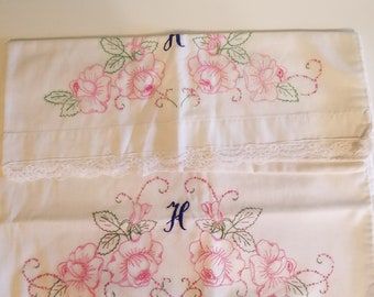 Beautiful Rose Embroidered Cotton Pillowcases