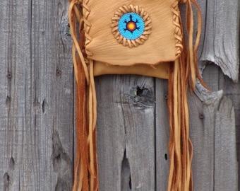 Fringed  leather purse ,  Beaded turtle totem , Crossbody phone case , Beaded leather handbag