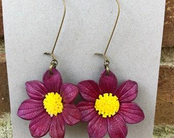 Leather Earrings- Flower Earrings