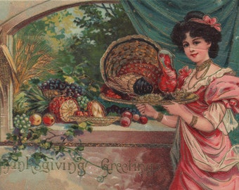 Lovely Thanksgiving Lady With A Turkey Original Vintage Postcard
