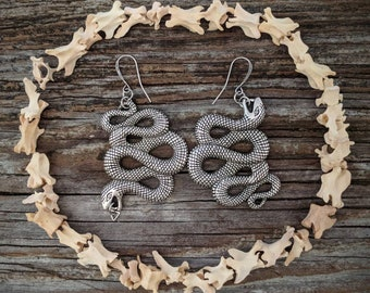 Snake - Earrings - Silver - Goth - Jewelry - Witchy - Oddities - Serpent - Gothic - Gift - Spooky - Long - Jewelry - Dark - Medusa