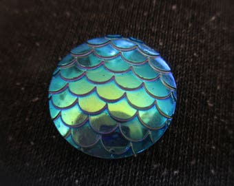 Large Blue Mermaid scale, dragon scale 20mm themed resin needleminder  magnet