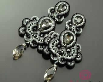 long gray earrings, long sparkling earrings, chandelier earrings, soutache earrings, unique gift, gray glossy earrings, clip on earrings