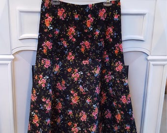 Ladies Size 12 Floral Corduroy Skirt