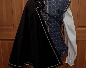 Black Velveteen Fighting Half Cape -  SCA Rapier Armor