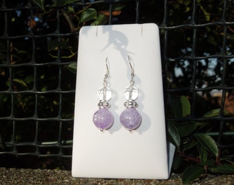 Purple Quartz Gemstone Drop Earrings 925 Sterling Silver Gift Healing