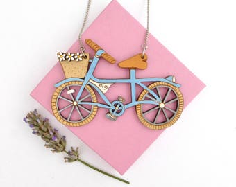 Blue bike necklace with flowers. Hand painted laser cut statement necklace. Summer accessories, colourful necklace. Blue statement necklace