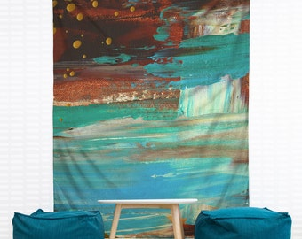 Paradise Cove Hanging Wall Tapestry. Home Decor, Dorm, Nautical, Abstract Painting, Modern Art, Headboard Tapestry, Turquoise, Beach Decor