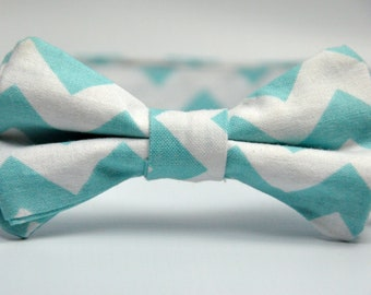Boy's Bow Tie Aqua Blue and White Chevron Bowtie
