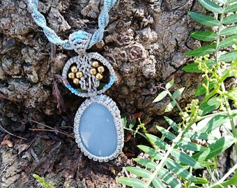 Macrame necklace with blue angelite stone /healing jewelry /spiritual necklace /gift for here and for him/Bohemian necklace