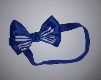 Baby Headband, Navy blue Bow, stripes, Accessories, Photography Prop, Cute Bows
