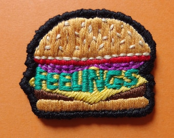 """Feelings burger handmade embroidered 2"""" patch"""