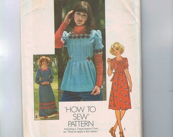 1970s Vintage Sewing Pattern Simplicity 7648 Misses Easy Tunic and Dress Size 10 Bust 32 1/2 1976 70s UNCUT  99