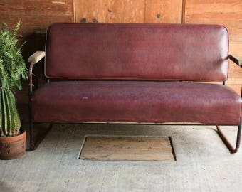 Mid Century Modern Couch, Rustic Modern Leather Couch, Loft Style Furniture,  Love Seat Mid Century, Sofa Mid Century, Vintage Couch