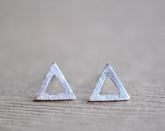 Triangle Post Earrings - Small Silver Triangle Stud Earrings - Geometric Earrings - Gift For Women - Minimalist Post Earrings