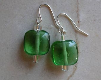 Green square glass beaded earrings
