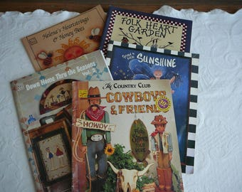 Set of 5 Tole painting instruction books from the 90's, includes patterns