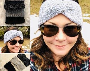 Chunky Knit Headband, Turban Twist Headband, Knitted Turban Headband, Women's Headband, Winter Earwarmer