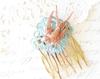 Rose Gold Flying Swallow Hair Comb - Sparrow Hair Comb - Woodland Bird Hair Comb - Verdigris Mint Blue Swallow Hair Comb - Bridal Hair