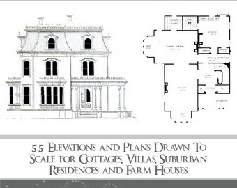 Architectural plans etsy victorian architectural plans 55 elevations and plans for cottages villas residences malvernweather Choice Image
