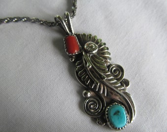Navaho Indian Maiden Necklace Sterling Turquoise and Coral Necklace Cow Girl Jewelry Sterling Silver Turquoise Necklace Vintage Turquoise