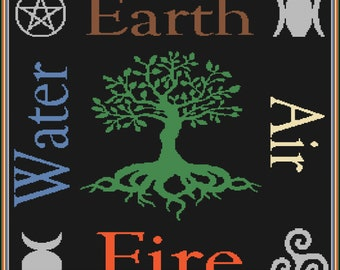 Pagan Wiccan Graphgan Blanket. Instant Download
