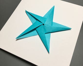 Origami star greeting card