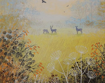 Canvas print of English countryside in autumn with deers from an original acrylic painting 'October Dawn' by Jo Grundy