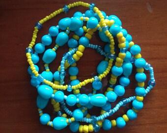Beaded Bracelets Turquoise Blue Bracelet Stackable Bracelets Blue&Yellow Stretchy Bracelets Spring Bracelets Set of Bracelets Bright Colors