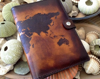 Personalized World Map Passport Holder Cover / Deluxe Italian Leather / Engraved & Hand Dyed / ON SALE