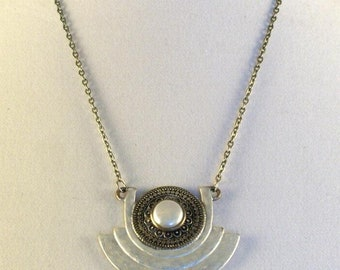 Aluminum Freestyle Pendant // Attached On Chain // Art Deco // Art Nouveau // Boho Chic // Sophisticated // Abstract //
