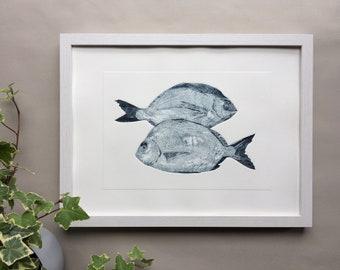 Two blue fish, new house gift, original collagraph, fish print, coastal print, original art.