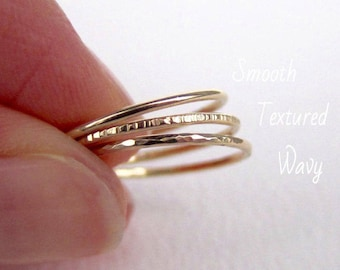 Gold rings set. Gold bands, stacking rings, set of 3 rings in 14k gold filled, sterling silver or solid gold. Textured rings.