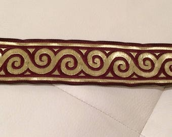 Medieval 3.5 cm Burgundy Ribbon and gold