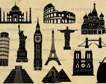 Digital SVG PNG JPG World Landmarks, vector, clipart, silhouette, instant download