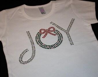JOY with Christmas wreath original short sleeve rhinestud tee by 1286 Kids (formerly Daisy Creek Designs)