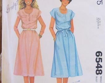 McCalls 6548 pullover dress pattern, Henley dress, 1970s pattern, bust 34 pattern, front pocket dress, front placket dress, belted dress