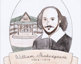 William Shakespeare Watercolor Print