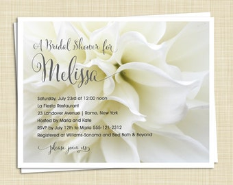 10 Bridal Shower Invitations - Gardenia - Flower - PRINTED