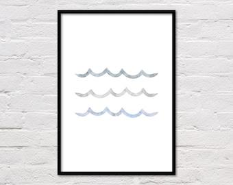 Wave Print, Wave Art, Ocean Print, Sea Print, Nursery Decor, Graphic Waves, Sea Art, Sea Wall Art, Blue Grey Wall Art, Wave, Ocean Printable