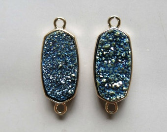 Blue Druzy Double Bail Connector Pendant Set In Gold Plated Bezel  - B1375