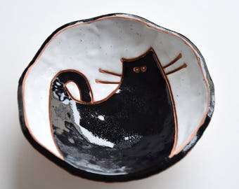 handmade ceramic bowl - pottery bowl - home decor - housewarming gift - black and white bowl