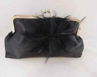 Black Satin Clutch-Clutch-Purse-Handbag-Kisslock-8 inch