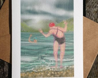 greetings card, birthday, mother's day: 'Swimming with Mother' - art card, open water swimming, wild swimming, ice swimming