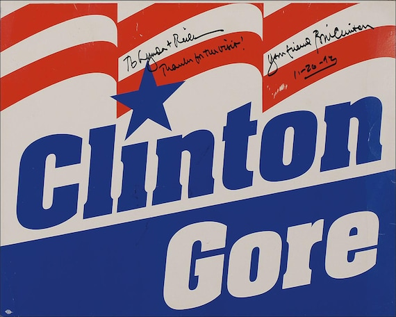 aa5 bill clinton al gore campaign poster signed photo reprint