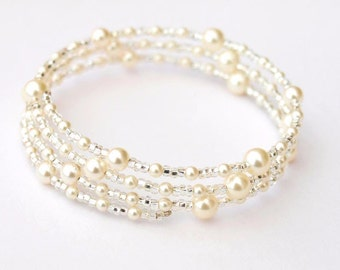 Pearl Bracelet, Bridal Jewellery, Pearl Memory Wire Bracelet, Wedding Accessories, Bridal Accessories, Mothers Day Gift, Valentines Gifts