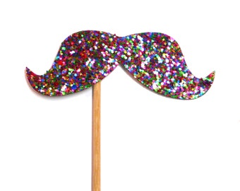 Photo Booth Props - Deluxe Glitter Moustache Photo Booth Props
