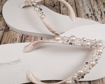 Wilomena Bridal Flip Flops, Pearl Custom Flip Flops, Pearl Bling Dancing Shoes, Bling Bridal Sandals, Wedding Flip Flops Beach Wedding Shoes